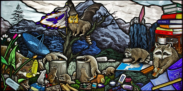 twelve 12 stained glass raccoons scavenging trash cans blue prints stained glass mountains satellite dish