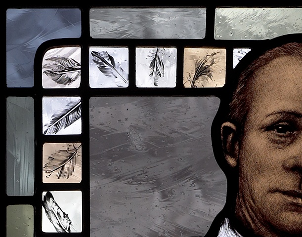 Portrait of British painter Sir William Coldstream with feathers; hand painted stained glass by Debora Coombs.