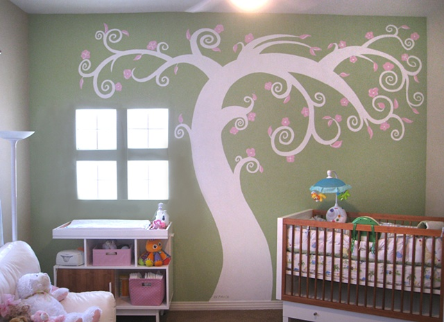 Nursery, Mural, ed pollick, las vegas, edward pollick, murals, artist, acrylic, painter, faux, children's, room, Orange county, Long Beach, Costa Mesa, Los Angeles, Santa Barbara, girls, boys, babys, bedroom, nursery