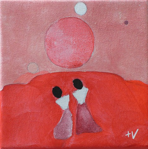 "HAPPY TRAILS #5 6"" x 6"" acrylic and graphite on canvas"