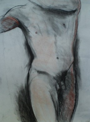 Standing male figure in charcoal and pastel.