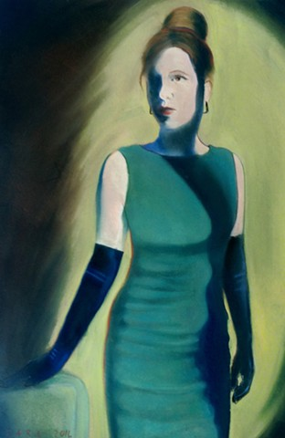 Woman in dark green hour-glass dress with dark blue elbow gloves and an updo.