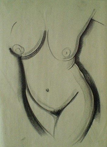 Female standing figure done in charcoal on newsprint.