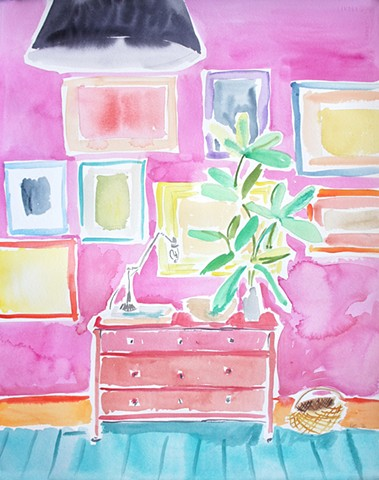 Pink Wall with Art
