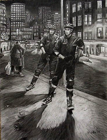 Black and white. Male skaters. Police