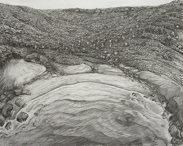 charcoal drawing, seascape