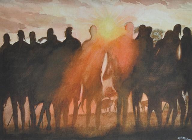 Maasai at Sunset