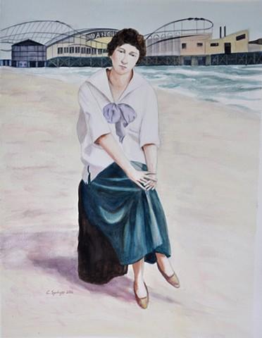 Lilly on Venice Beach, 1920s