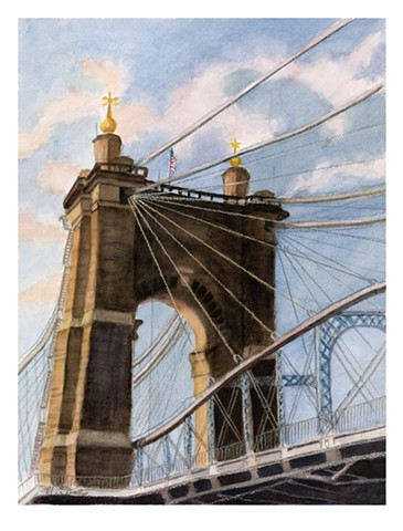 This painting was used for the invitation and poster for the show, Cincinnati Scenes, at the Christ Church Cathedral in downtown Cincinnati, June 18 - July 30, 2014.