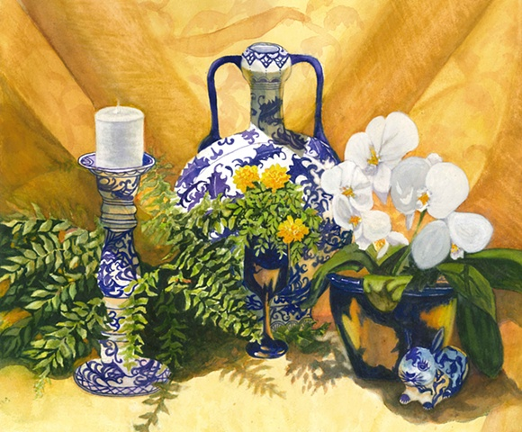 Blue painted china
