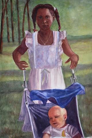 black girl, white baby, wedding, stroller