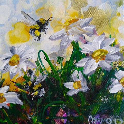Bee, daisy, wind, Sky, Gammons