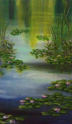 pond, lily, lilies, water lilies, cat tails, reflection, peace, harmony, sunshine, bloom, blossom