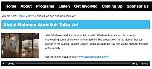 107.3 Radio - Abdul-Rahman Abdullah talks art