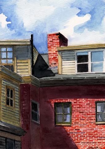 Dan Fionte Newburyport Massachusetts State and Middle Watercolor Painting Architecture