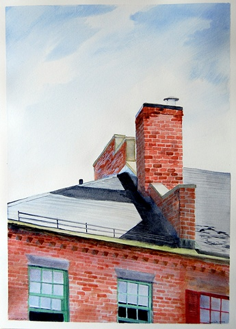 Watercolor of the rooftop and chimney above Starbucks on the corner of State and Liberty streets in Newburyport Massachusetts by Dan Fionte