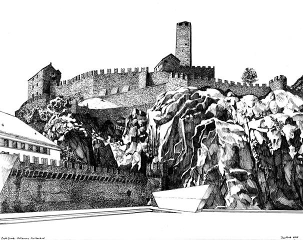 Castelgrande in Bellinzona Switzerland in pen & ink by Dan Fionte