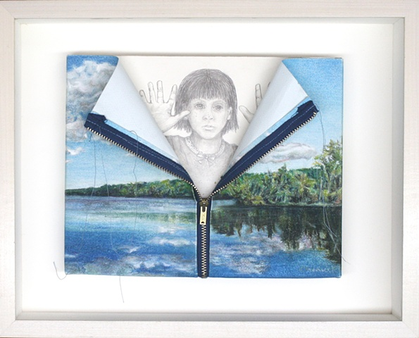 Mixed media--pastel of paper landscape with zipper; graphite on board in hinged and clasped box frame.