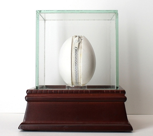 Mixed media--eggshell with zipper sculpture in glass box.