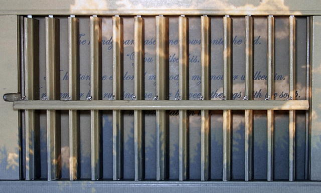 Mixed media--digital image mounted on interior wooden window shutter; mirror; text behind slats.