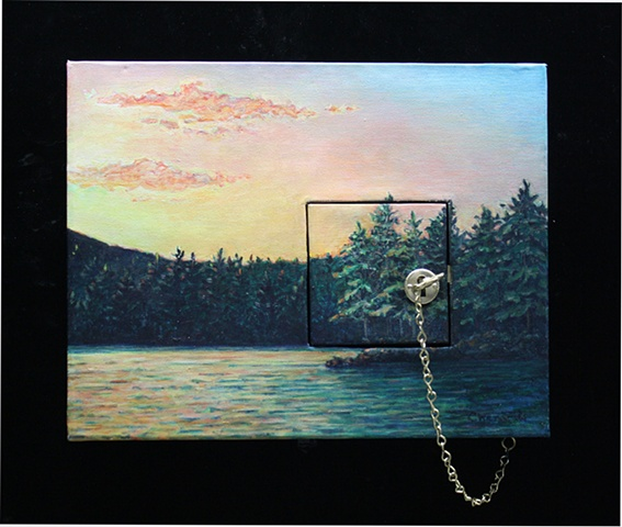 Acrylic landscape on canvas with inset hinged door with lock, key and chain.