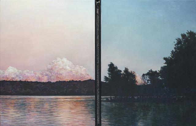 Mixed media--acrylic landscape on canvas with rhinestone zipper.