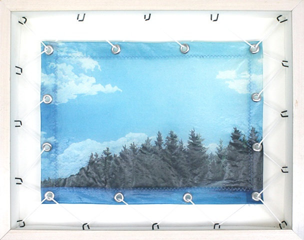 """Mixed media--stretched xerographic transfer of original acrylic painting with """"C"""" tacks, cord and grommets in hinged and clasped box frame."""