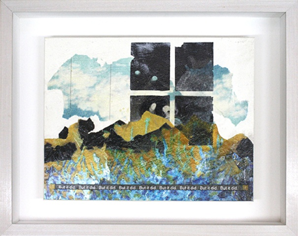 Mixed media--collage on matte board; text in hinged and clasped box frame.