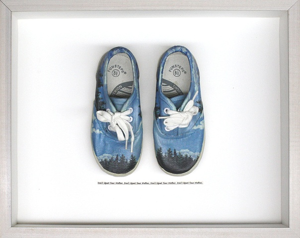 Mixed media--xerographich transfer of original acrylic painting on child's sneakers with text in hinged and clasped box frame.