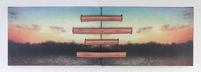 Mixed media--xerographic transfer of original acrylic landscape painting on canvas with zippers and text.