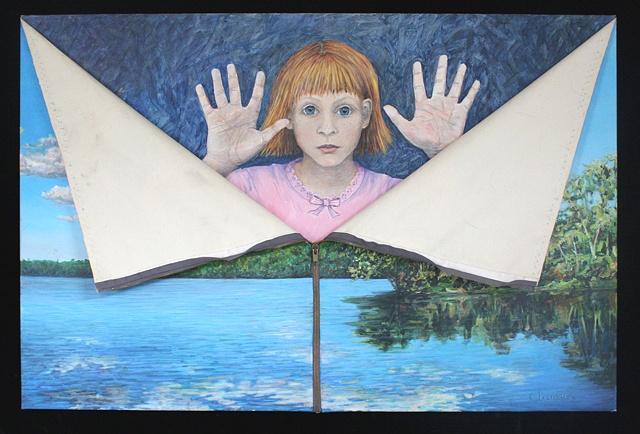 Mixed media--acrylic on canvas landscape with zipper; acrylic on board .