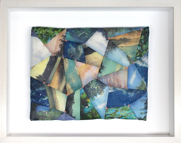 Mixed media--xerographic transfer of origiinal acrylic landscape onto stretched silk with embroidery floss in hinged and clasped box frame.