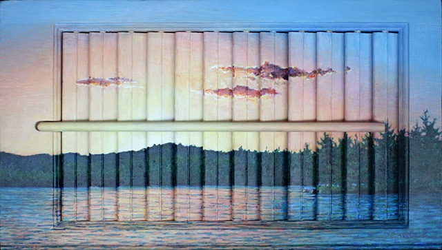 Acrylic landscape on interior wooden window shutter; digital image with text dealing with verbal abuse. Text is based on a personal story shared with me.