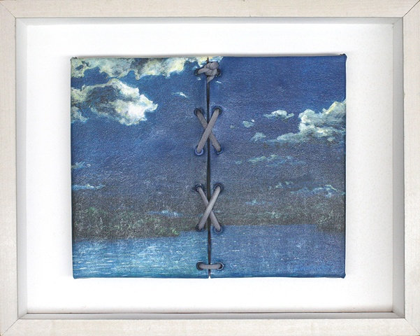 Mixed media--xerographic transfer of original acrylic landscape on canvas with eyelets and lacing in hinged and clasped box frame.