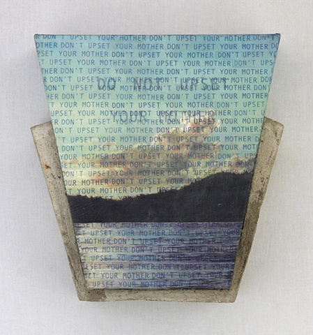 Xerographic transfer of original acrylic painting; text on canvas with concrete. Subject-family relationships