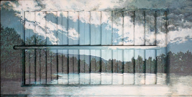 Mixed media--acrylic landscape on interior wooden window shutter; digital image with text dealing with marital rape