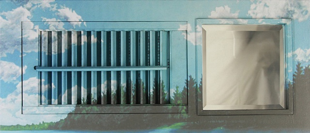 Mixed media--digital landscape image mounted on interior wooden window shutter with mirror; digital image and text behind slats. Text deals with child molestation.