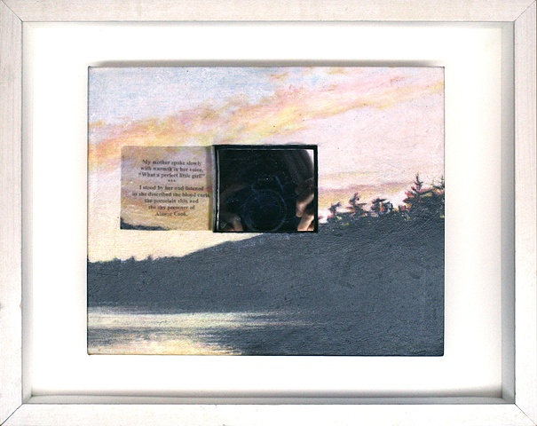 Mixed media--xerographic transfer of original acrylic landscape with mirror and text in hinged and clasped box frame.