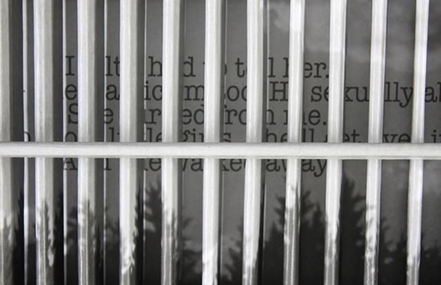 Mixed media--digital landscape image mounted on interior wooden window shutter; text behind slats.