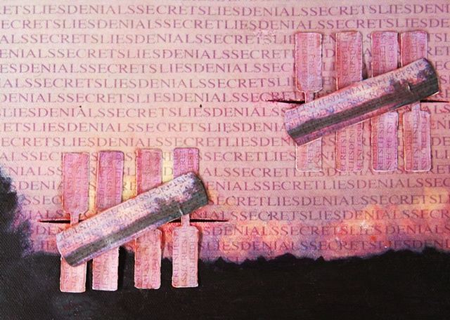 Mixed media--xerographic transfer of original acrylic landscape painting on canvas with text; zipper and butterfly bandages.