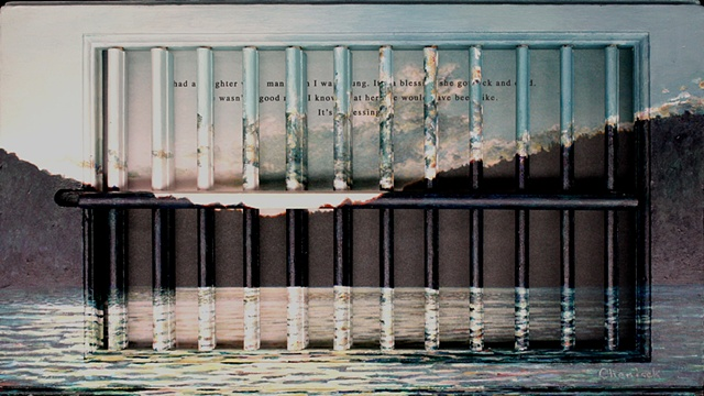 Acrylic landscape on interior wooden window shutter; digital image with text about physical abuse