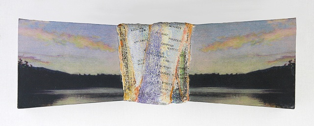 Mixed media--xerographic transfer of original acrylic landscape on board with plaster bandage; text.