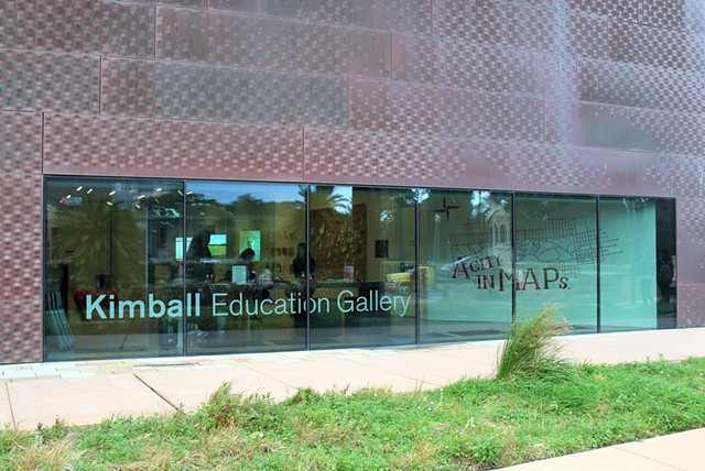 View of the Kimball Gallery from outside of the de Young Museum