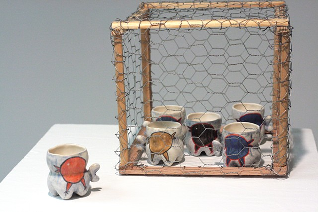 wang ling chou, jail break, chicken cage, ceramics, 12th annual national juried cup show, kent down town gallery