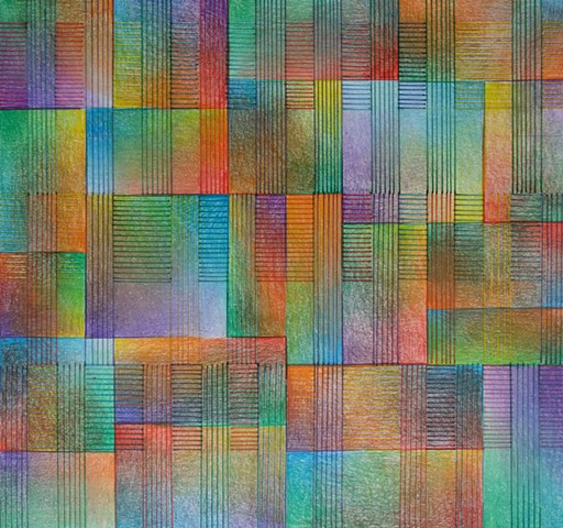 Grid based abstract non-representational design using cross-hatching and color gradation.  Primary and secondary colors predominate.