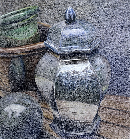Still life, realism, reflection, pottery, ceramics