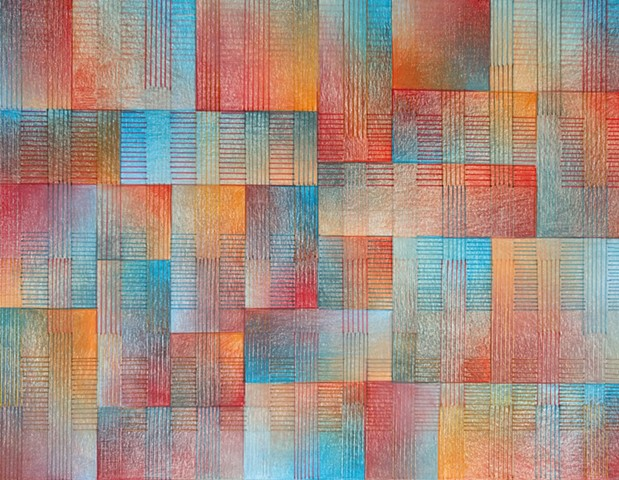 Grid based abstract non-representational design using cross-hatching and color gradation. Blues, reds, oranges and browns predominate.