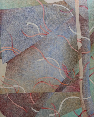 Abstract drawing suggesting a landscape, in blues, aquas, and Browns