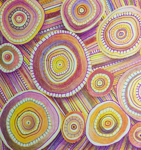 Abstract ink drawing of circles and lines, non-objective, in pinks, reds and yellows.