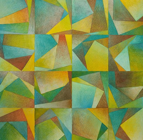 Abstract drawing within a grid structure, with L-shaped forms in each square. All areas are shaded with at least 4 colors in each section, with the predominant colors being greens, and yellows and browns.